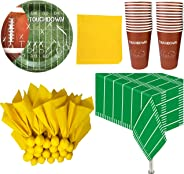 Football Themed Party Supplies and Decorations - 24 Party Cups, 24 Paper Dinner Plates, 24 Penalty Flag Paper Napkins, 24 Yel