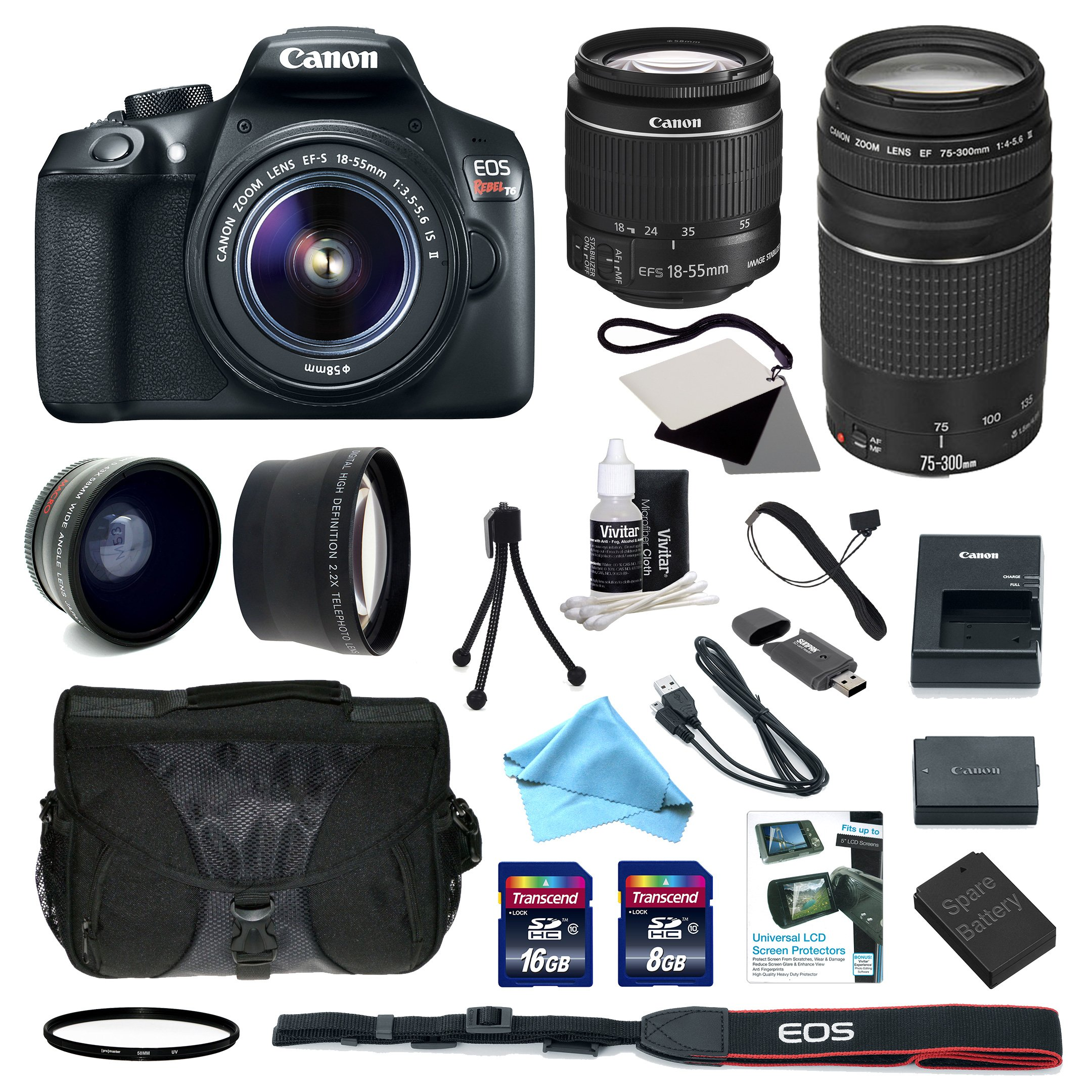 Canon EOS Rebel T6 Digital SLR with EF-S 18-55mm f/3.5-5.6 IS II Standard Zoom Lens + EF 75-300mm f/4-5.6 III Telephoto Zoom Lens + Deluxe Accessory Bundle (99924)