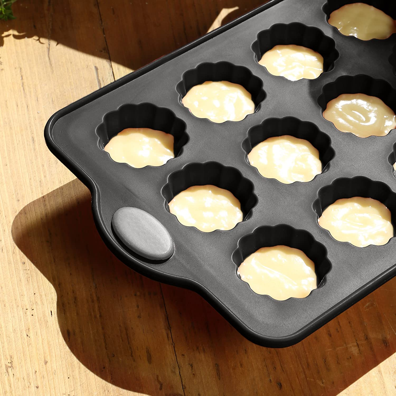 LEVIVO Molde de Horno de Silicona para canelés, minimagdalenas ycupcakes, Gris, 28 cm: Amazon.es: Hogar