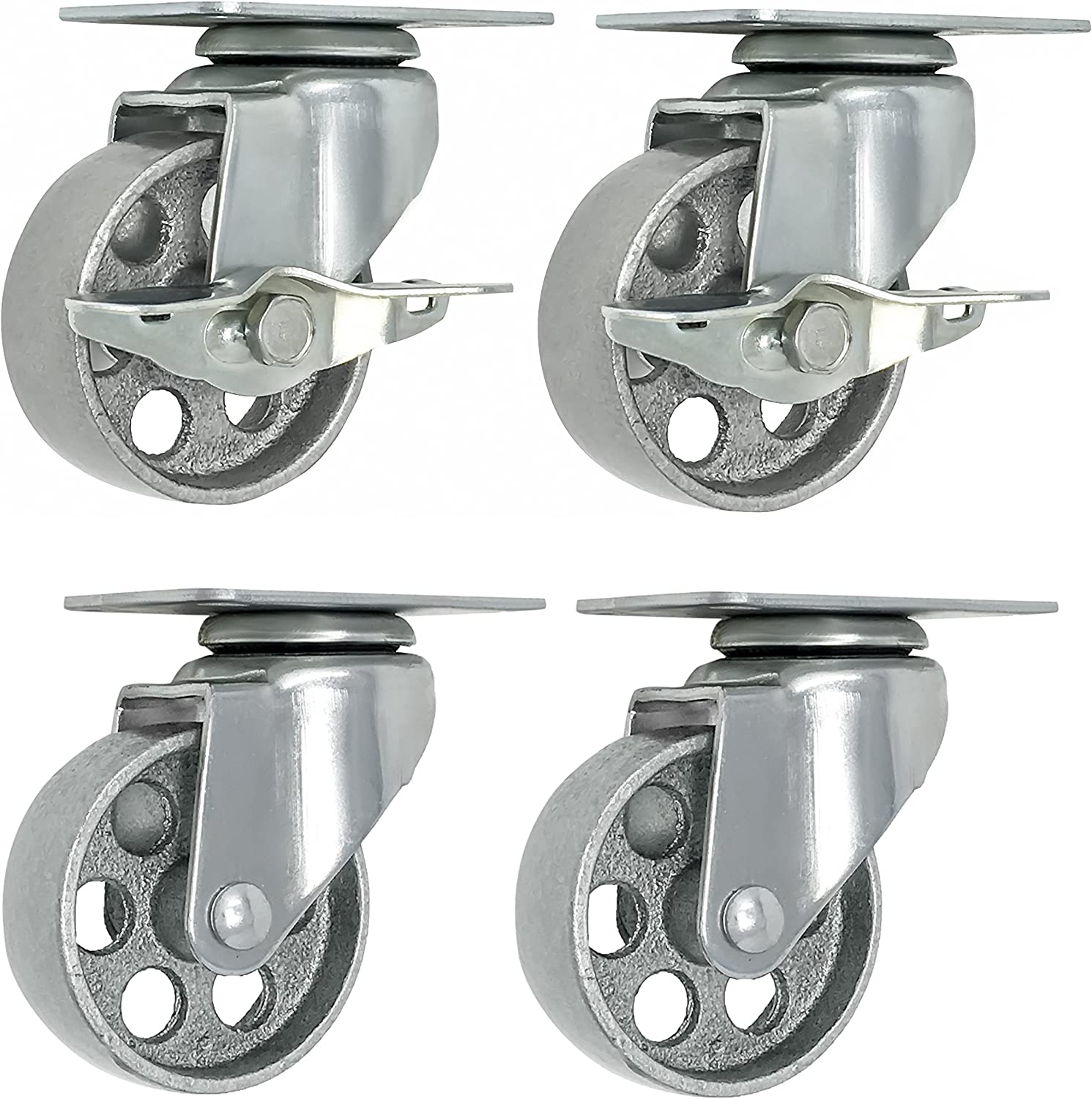 "4DLSSSSB 4/"" Swivel Caster Stainless Steel Solid Poly Wheel with Top Lock Brake"