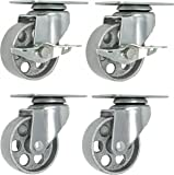 "4 All Steel Swivel Plate Caster Wheels w Brake Lock Heavy Duty High-gauge Steel 1500lb total capacity Gray (3.5"" Combo)"