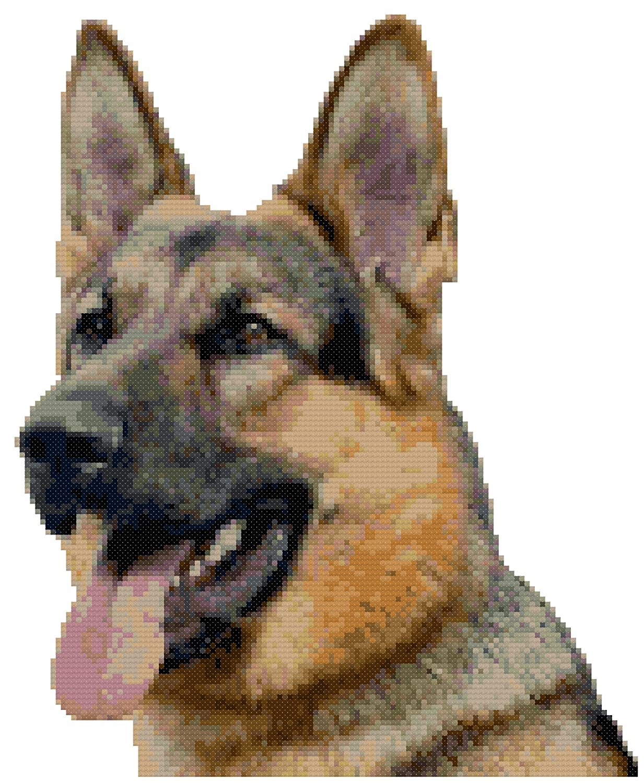 German Shepherd Dog Portrait Counted Cross Stitch Pattern Boston Needleworks