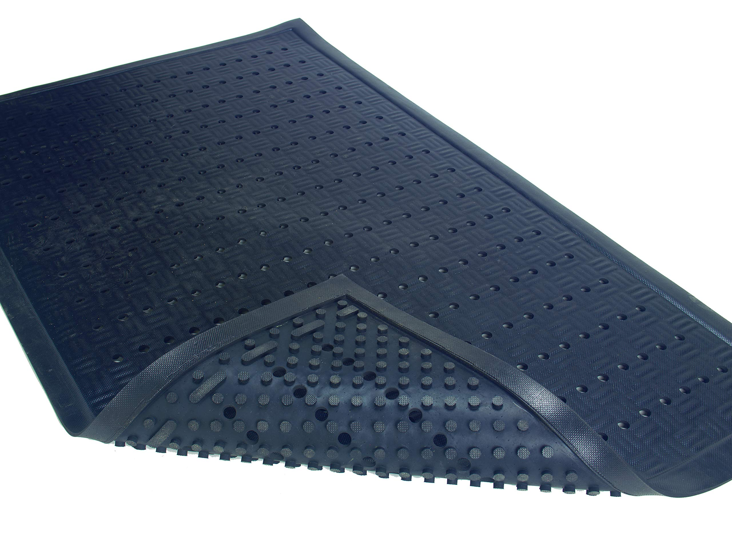 Cushion Station | Commercial-Grade Drainable Anti-Fatigue Mat - Slip Resistant, Antimicrobial, Grease and Oil Proof, Chemical Resistant, Welding Safe (Black 2' x 3.2') by M+A Matting