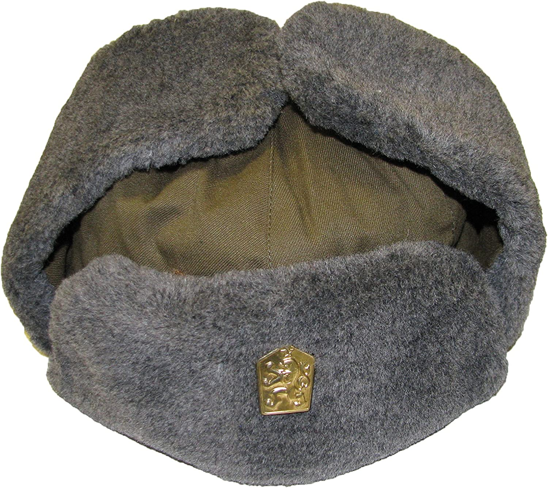 Echtes Czech Army Issue Winter grau Fell Oliv Trapper Uschanka M/ütze mit Anstecker 2.