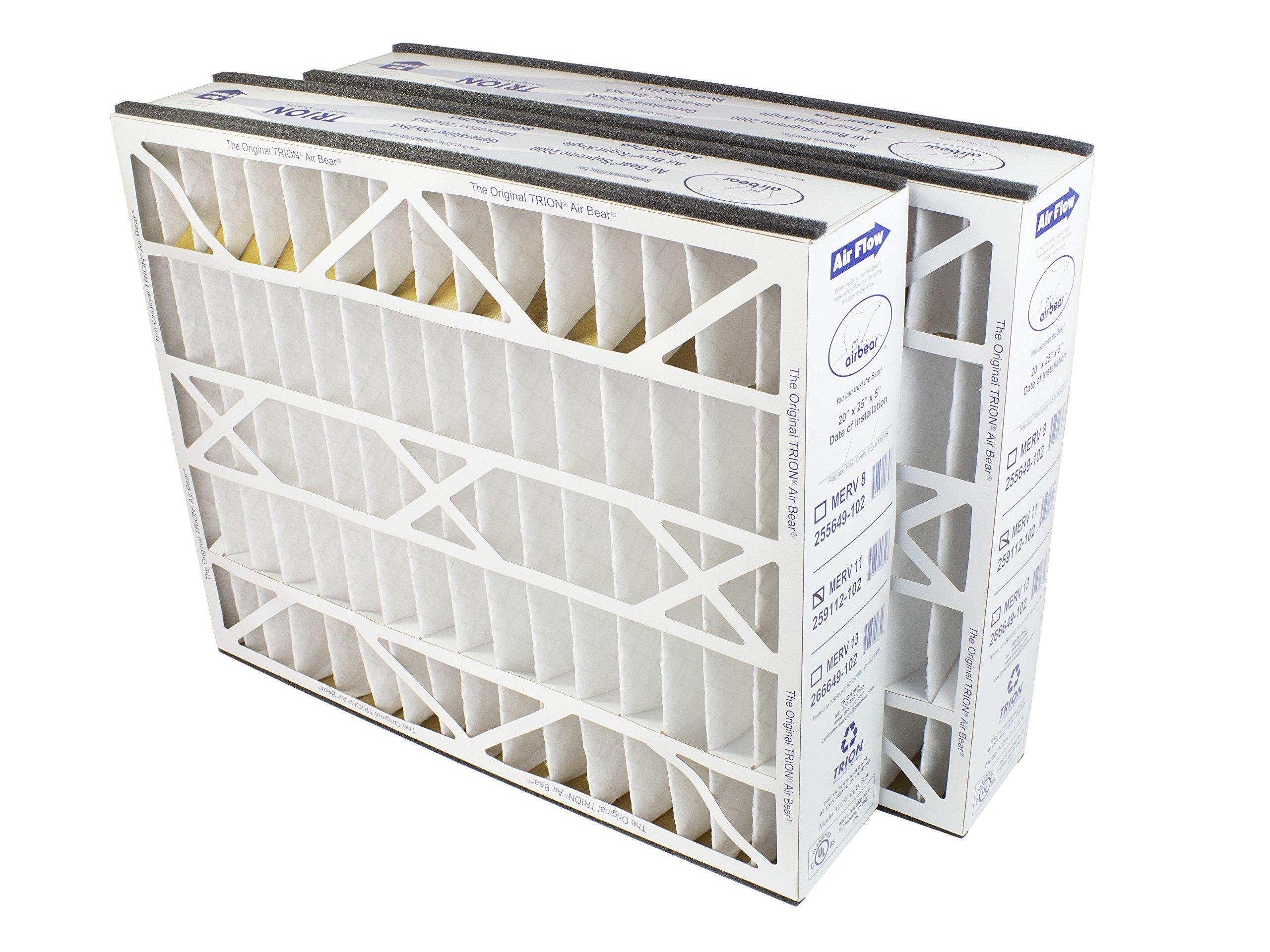 """Trion Air Bear 259112-102 (2-Pack) – 20"""" x 25"""" x 5"""" Pleated Air Filter, MERV 11"""