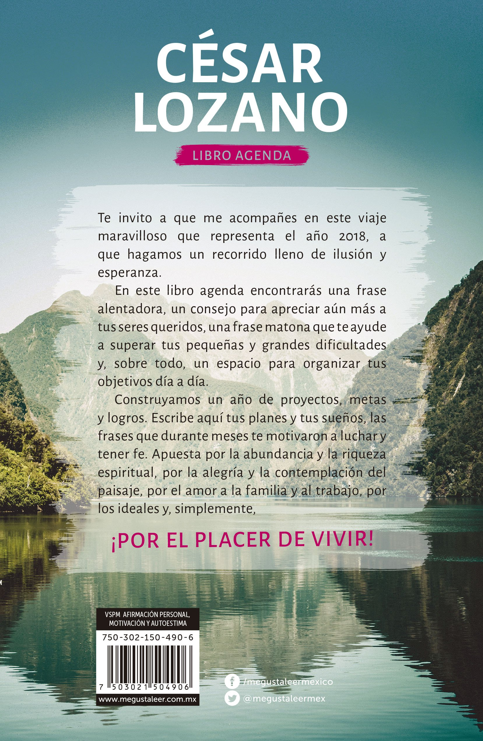 Libro Agenda Por El Placer De Vivir 2018 Cesar Lozano
