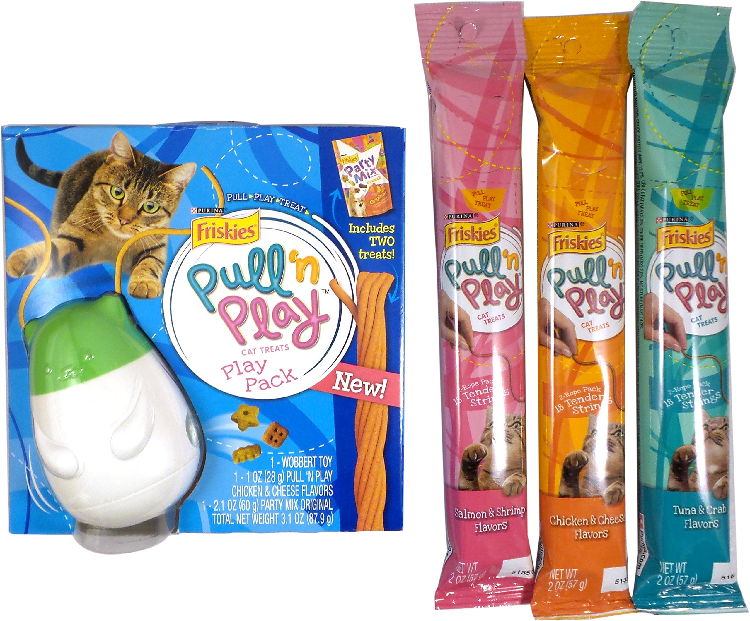 Friskies Pull N Play Cat Treat Bundle: 1 Wobbert Toy, 1 Friskies Party Mix, Chicken & Cheese, Salmon & Shrimp and Tuna & Crab Pullnplay String Treats