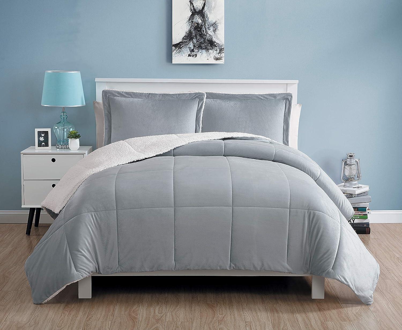 VCNY Home Micro Mink Comforter Set Full/Queen Grey 3 Piece