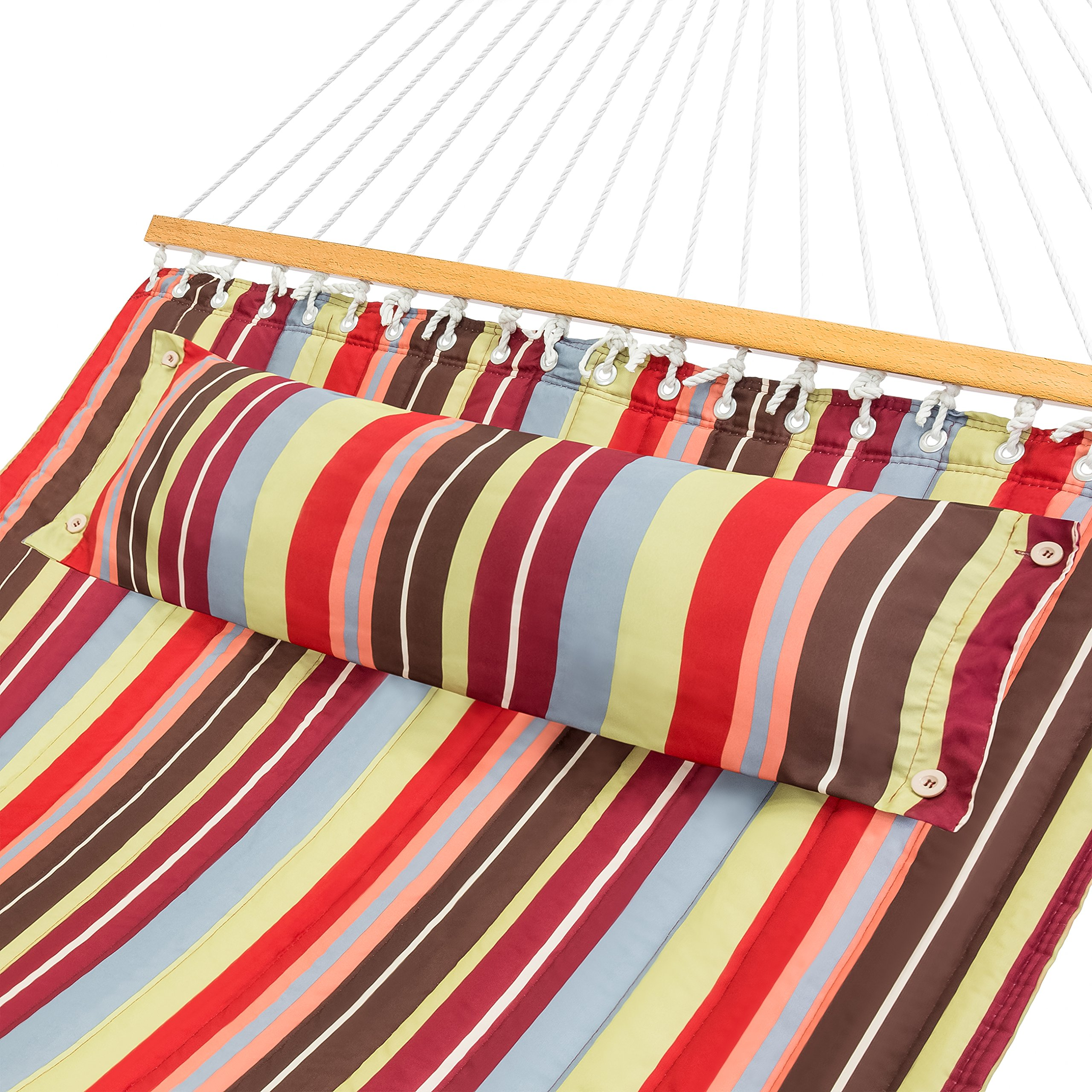 Best Choice Products Quilted Double Hammock w/Detachable Pillow, Spreader Bar - Red and Blue Stripe