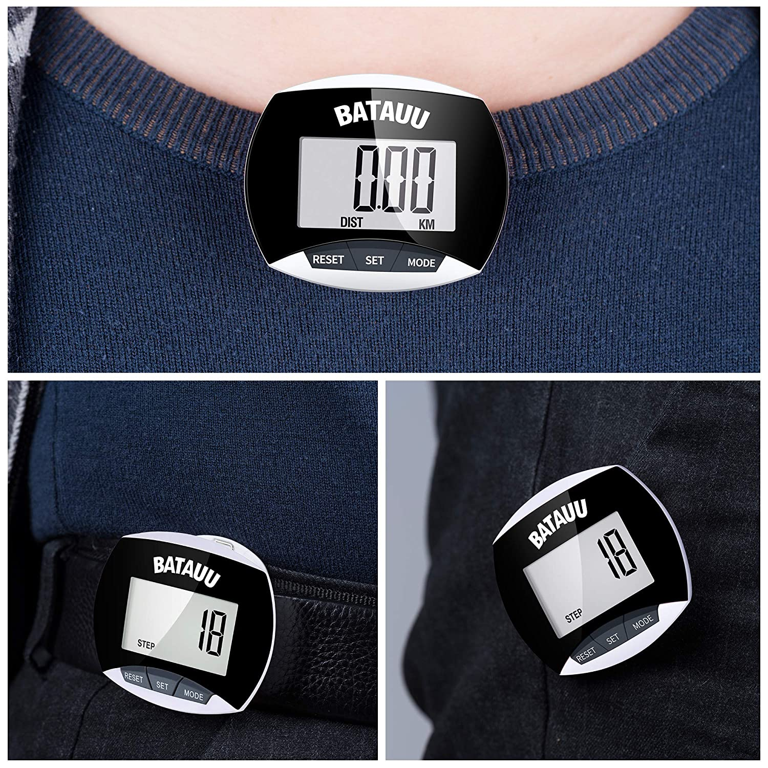 Simply Operation Walking Running Pedometer with Calories Burned and Steps Counting BATAUU Best Pedometer Black