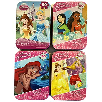 Bundle Set of 4 Mini Jigsaw Puzzles: Disney Princesses - Belle, Ariel, Tangled, Mulan, Moana, Cinderella, and Little Mermaid: Toys & Games