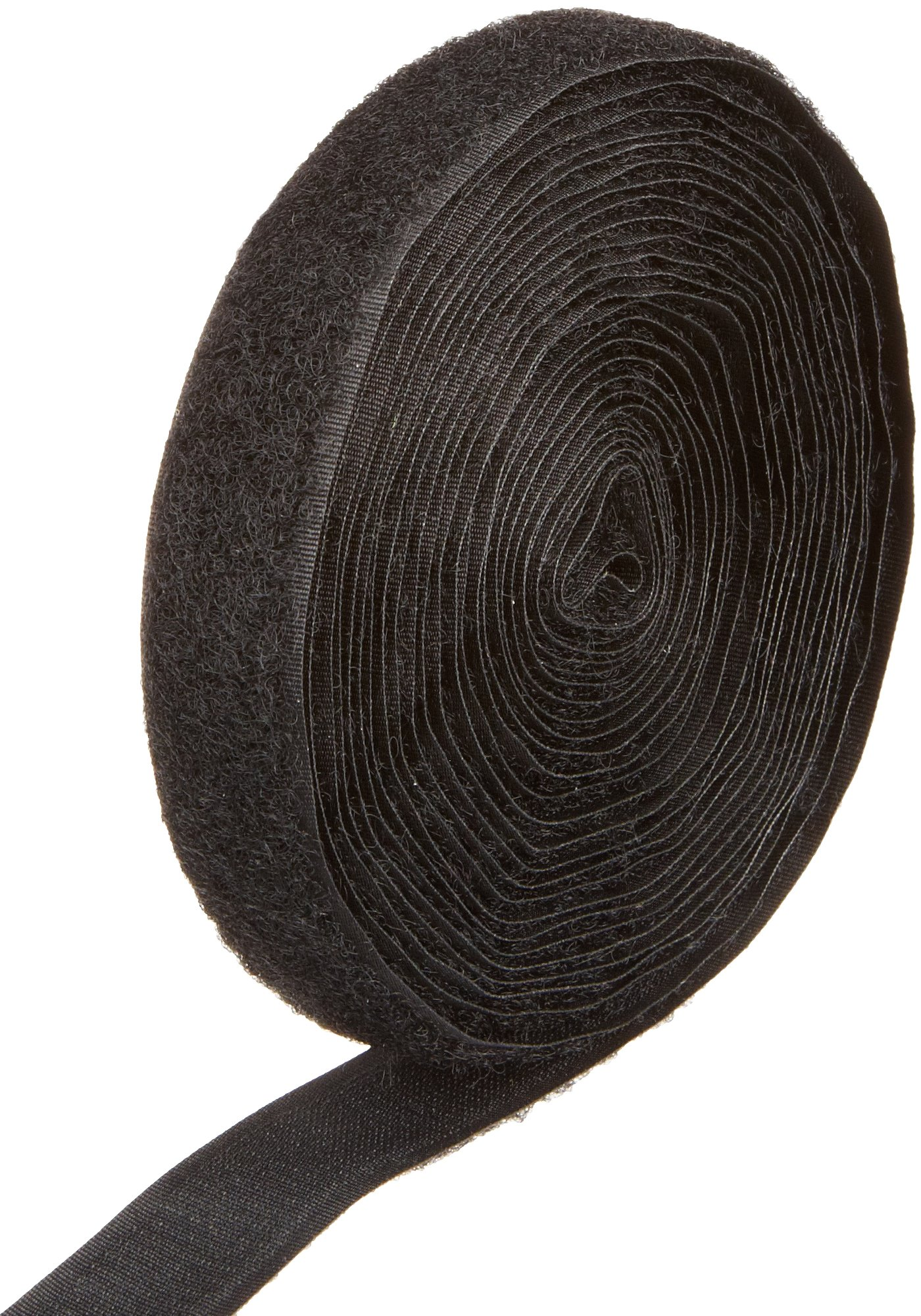 VELCRO 1003-AP-PB/L Black Nylon Woven Fastening Tape, Sew-On Loop Only, 3/4'' Wide, Standard Back, 5 Yards