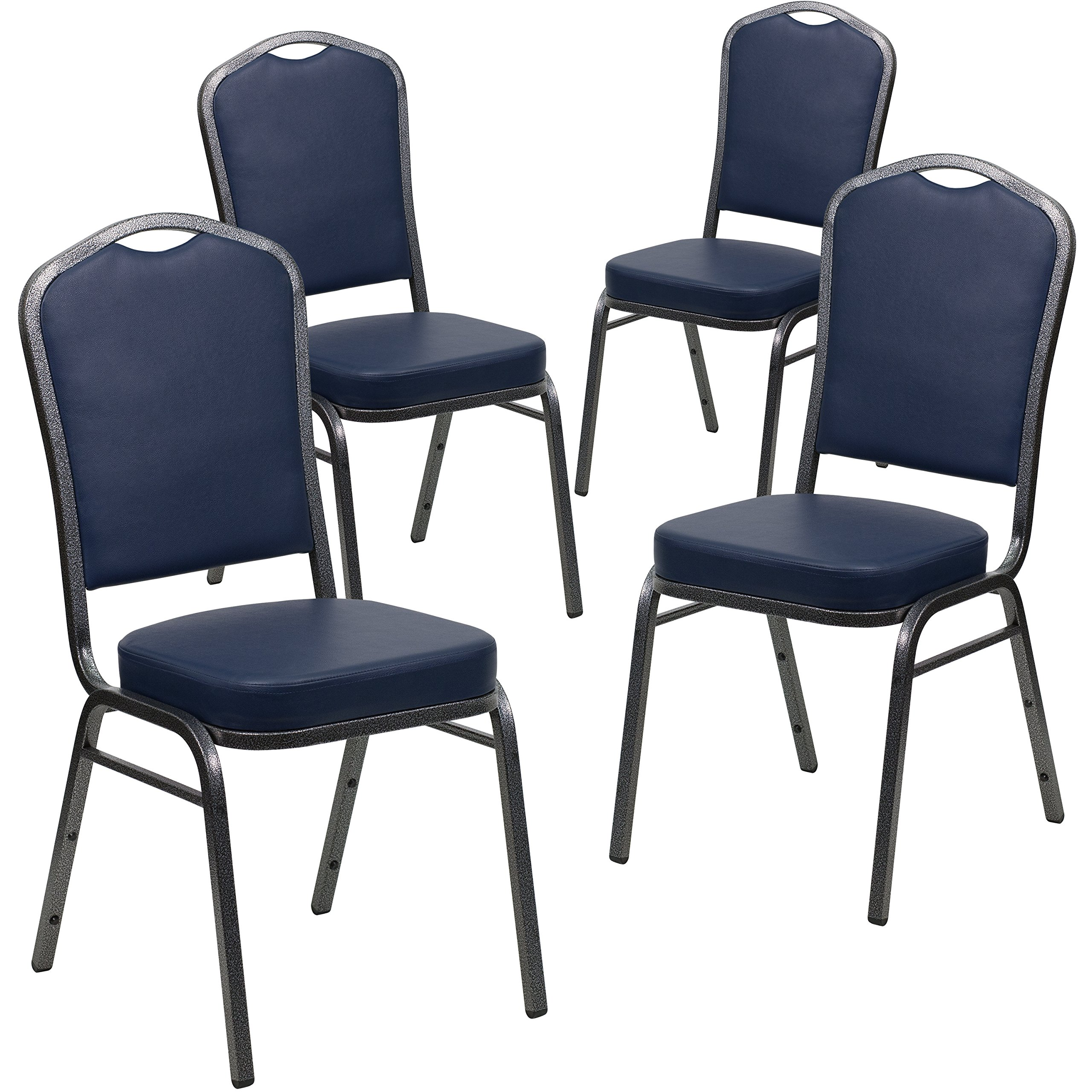 Flash Furniture 4 Pk. HERCULES Series Crown Back Stacking Banquet Chair in Navy Vinyl - Silver Vein Frame by Flash Furniture