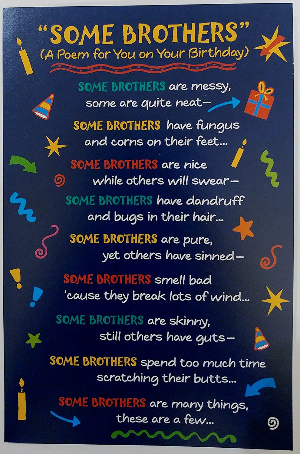 Amazon Some Brothers A Poem For You On Your Birthday Greeting Card