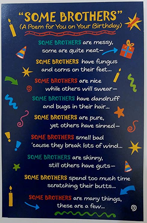 Amazoncom Some Brothers A Poem For You On Your Birthday