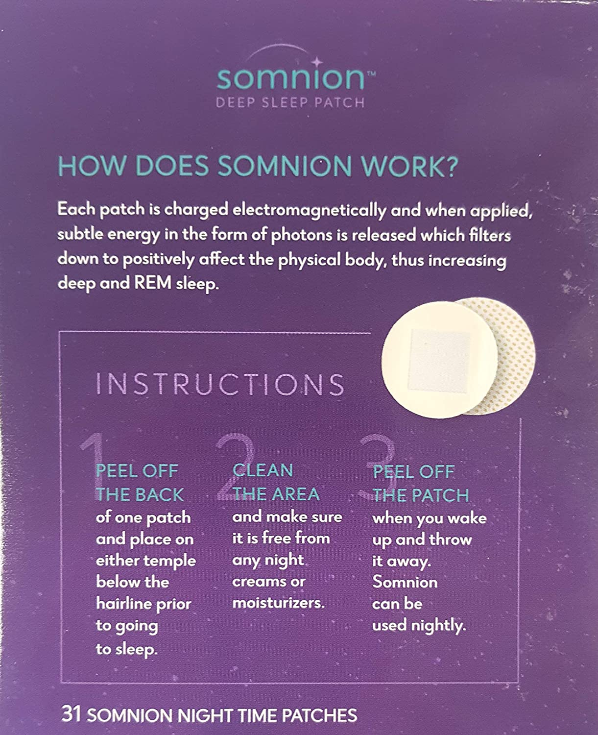 Amazon.com: Somnion Deep Sleep Patch, Increase Deep and REM Sleep, Patented Biofield Photon Technology, No Drugs or Chemicals, 31 Day Supply: Health ...
