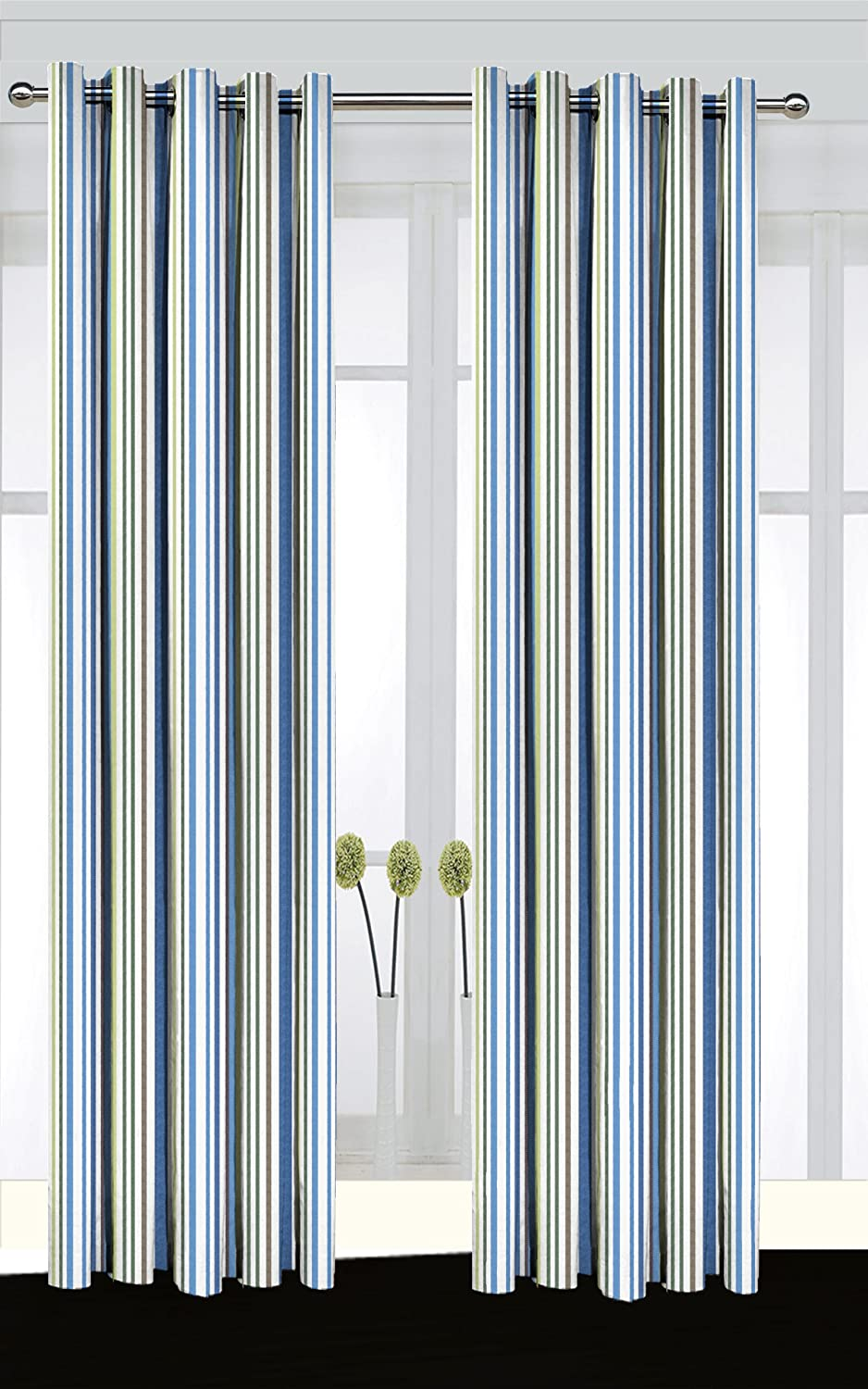 a pair of eyelet curtains stripe design with stripes in 5 different blue white yellow and grey width 117 cms46 drop 229 cms90