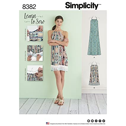 Amazon Simplicity Pattern 40 Misses' Halter Dress in Two Mesmerizing Simplicity Pattern