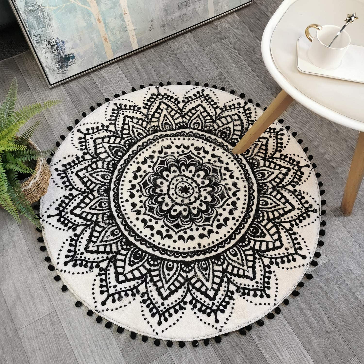 Uphome Round Area Rug 3' Diameter with Chic Pom Pom Fringe Boho Blue Mandala Velvet Accent Throw Rugs Non-Slip Soft Floor Carpet Machine-Washable for Living