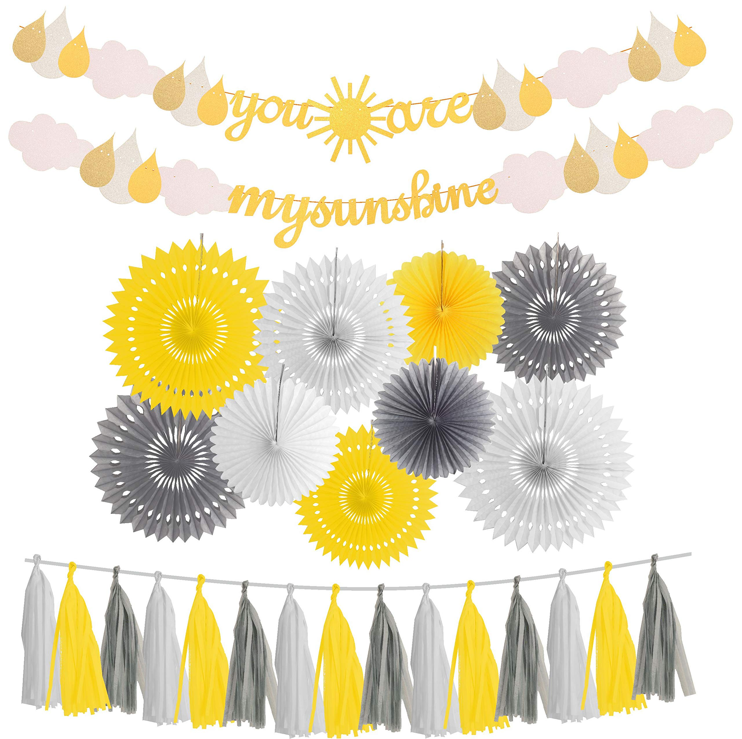 MEANT2TOBE You are My Sunshine Gold Glitter Banner | with Sun and Cloud | Little Sunshine Party Supplies | for Baby Shower Kid's Birthday Wedding Party Nursery Decorations Supplies