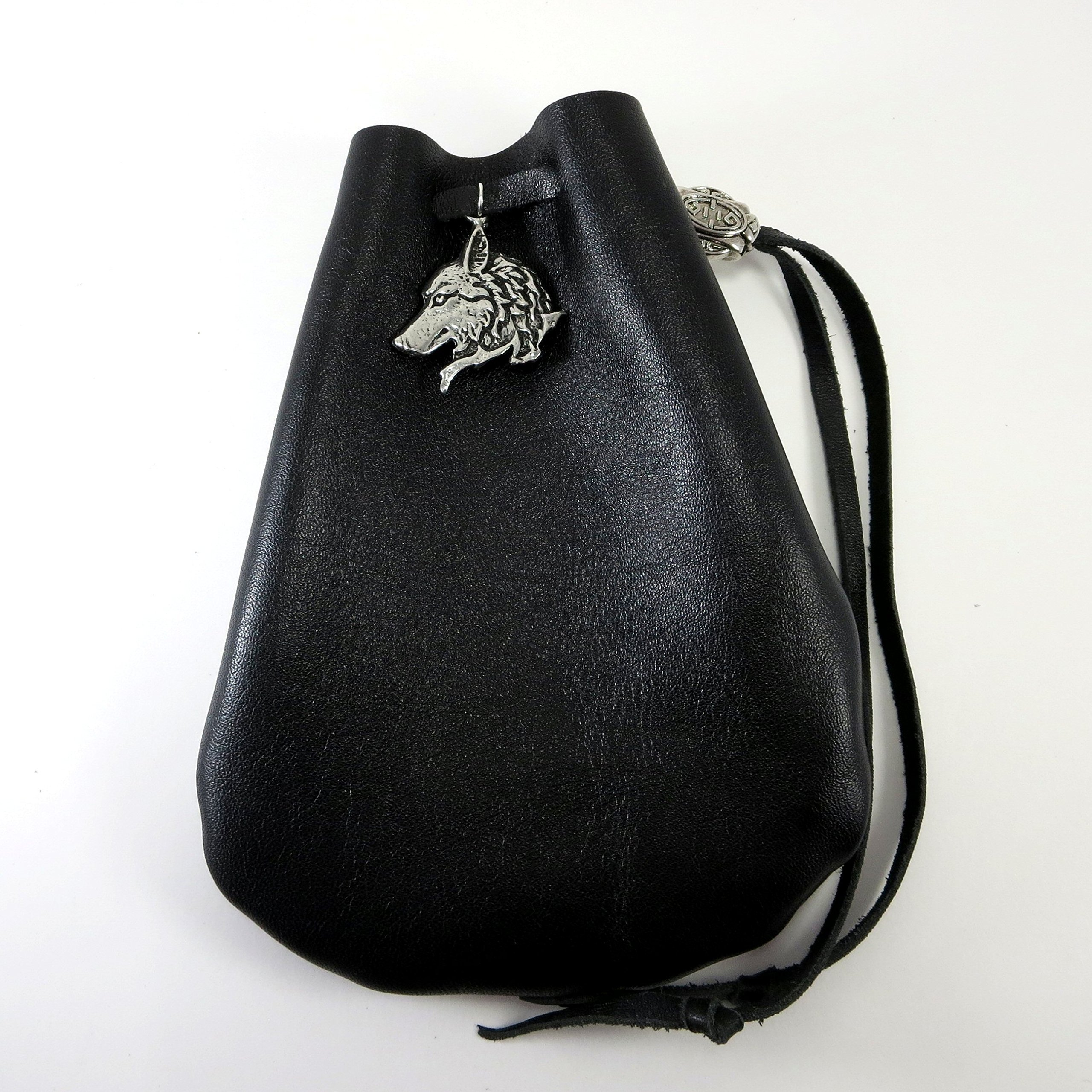 Black Leather Drawstring Pouch with Wolf Pewter Accent