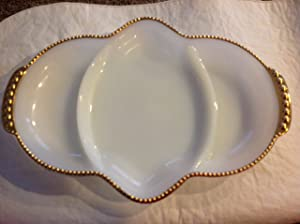 Fire King Oven Ware Milk Glass Divided Relish Condiments Serving Dish