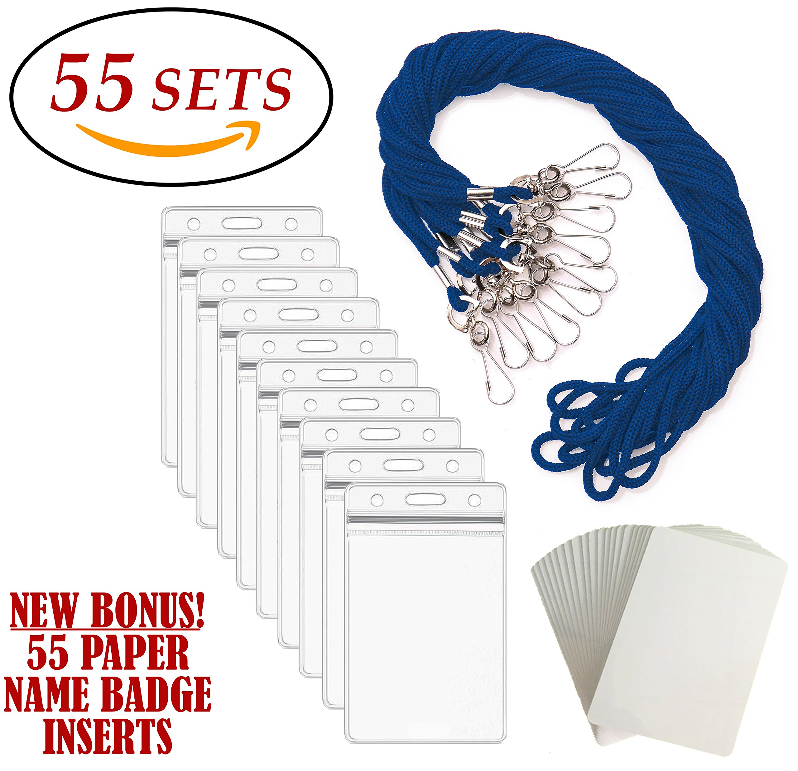 ID Badge Holders & Lanyards, 55 sets, BLUE STRING and VERTICAL PVC Name Tag Hole Punched Zipper Waterproof Resealable Clear Plastic BONUS Kit Insert Labels Credit Card For Employees Heavy Duty Bulk