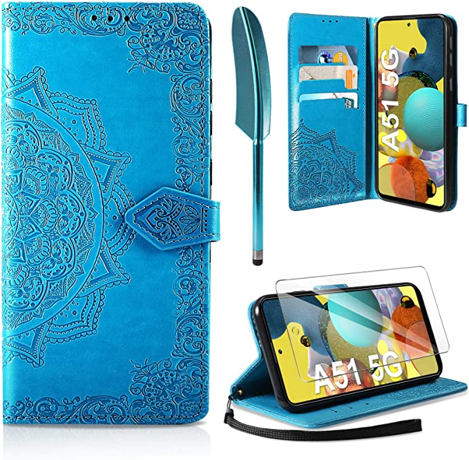 Shockproof Wallet PU Leather Phone Case Cover with Card Slots Stand Magnetic Scratchproof Protective Cover AROYI Case Compatible with Samsung Galaxy A51 5G Flip Case with Screen Protector