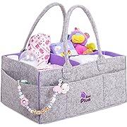 Baby Diaper Caddy Organizer - Baby Shower Gift Basket for Boy Girl - Portable Large Diaper Caddy Tote - Changing Table Organizer - Nursery Gray Felt Storage Bin - Newborn Registry Must Have (1)