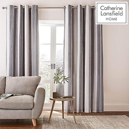 Catherine Lansfield Cortinas con Ojales de Rayas de espiguilla, Poliéster y algodón, Gris, Eyelet Curtains-66x72 Inch: Amazon.es: Hogar