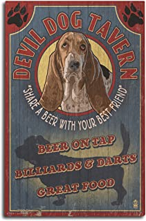 product image for Lantern Press Devil Dog Tavern Vintage Sign - Basset Hound (10x15 Wood Wall Sign, Wall Decor Ready to Hang)