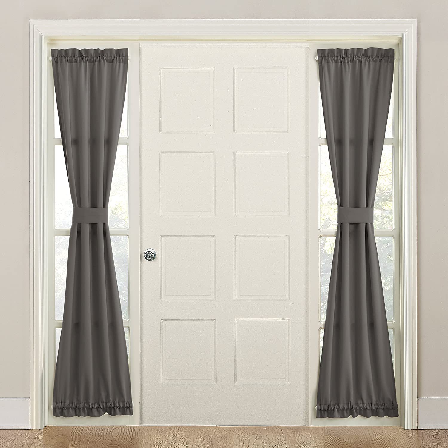 "Sun Zero Energy Front Door Sidelight Curtain Panel with Tie Back, 26"" x 72"", Steel Gray"