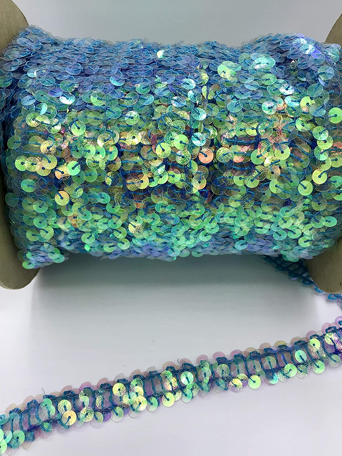 Trimplace Nu Cry Blue 3//4 12 Yards Zig Zag Stretch Sequin 2 Row