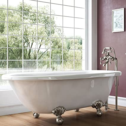 Luxury 54 Inch Small Vintage Clawfoot Tub In White Includes Brushed