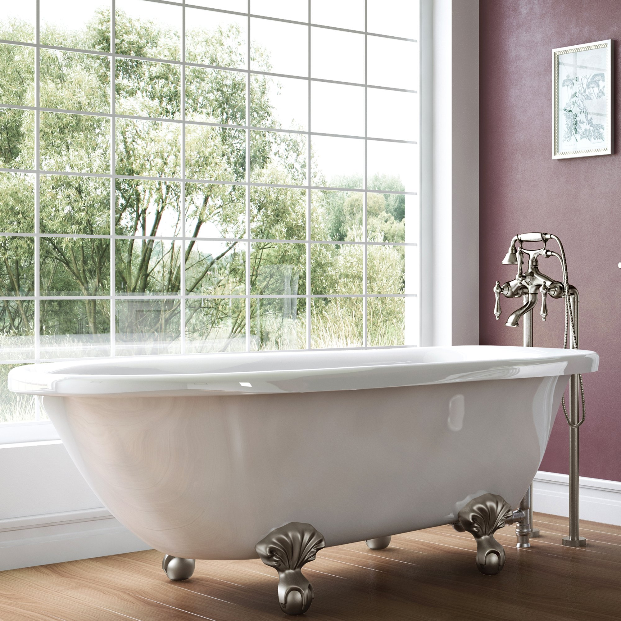 Luxury 54 inch Small Vintage Clawfoot Tub in White, Includes Brushed Nickel Ball and Claw Feet and Drain, From The Highview Collection by Pelham & White