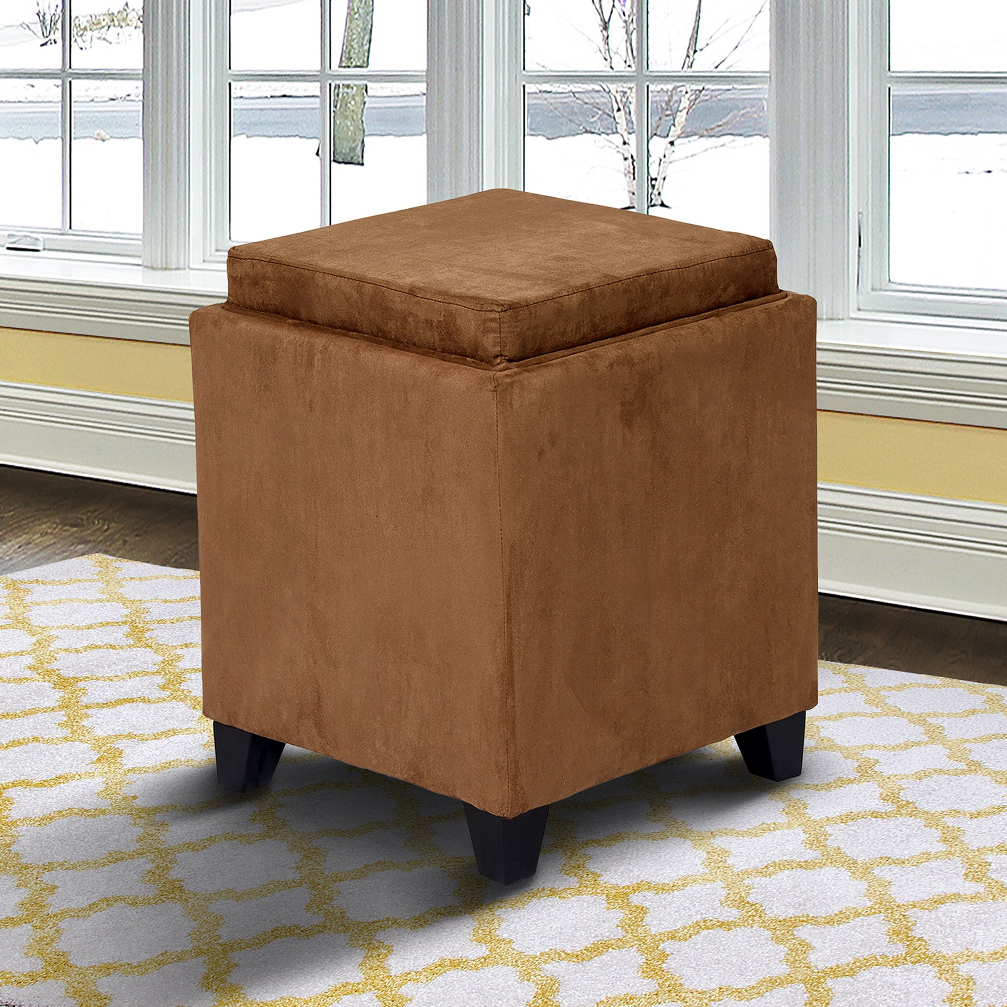 Armen Living LC530OTMFBR Rainbow Ottoman in Brown and Black Wood Finish