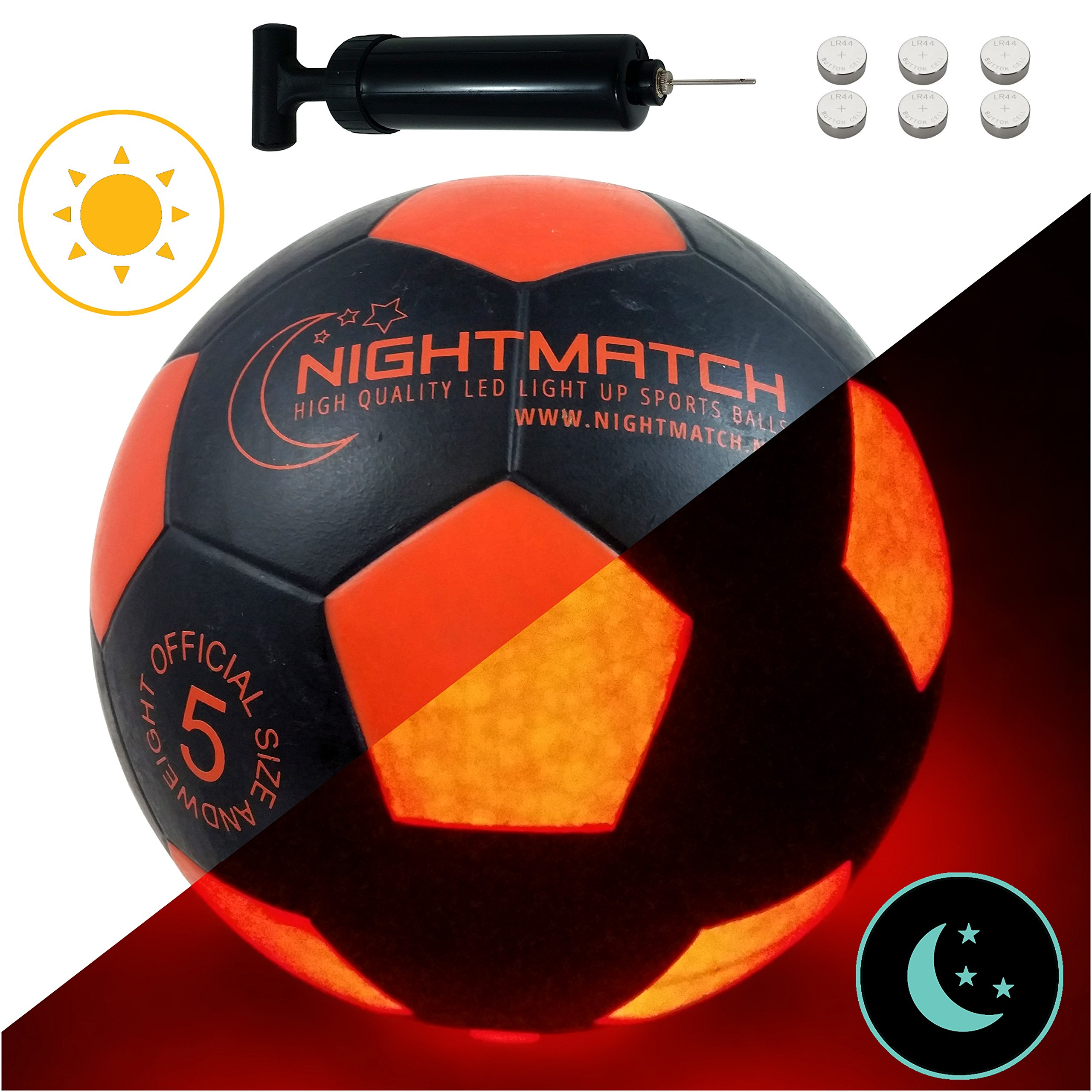 NIGHTMATCH Light Up Soccer Ball INCL. Ball Pump and Spare Batteries - Black Edition - Inside LED Lights up When Kicked - Glow in The Dark Soccer Ball - Size 5 - Official Size & Weight - Black/Orange by NIGHTMATCH