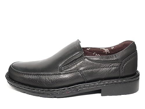 Zapatos hombre tipo mocasín FLUCHOS - Piel con elásticos laterales, disponible en Marrón y Negro