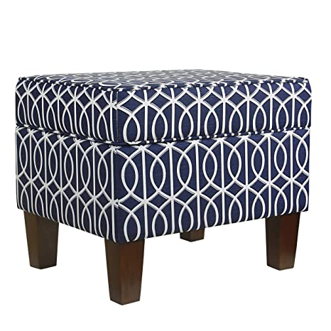 Excellent Homepop Square Storage Ottoman With Hinged Lid Blue Trellis Unemploymentrelief Wooden Chair Designs For Living Room Unemploymentrelieforg