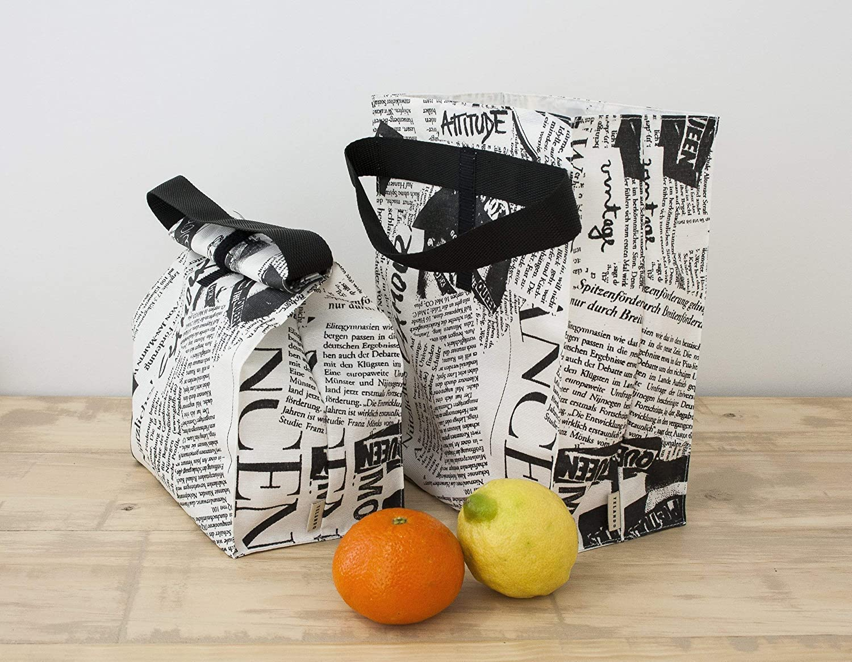 Newspaper print Lunch bag in waterproof fabric