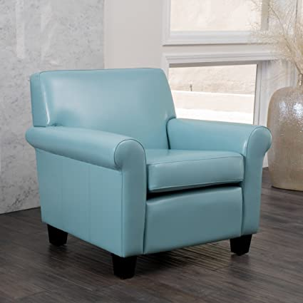 Captivating Addison Teal Blue Leather Club Chair
