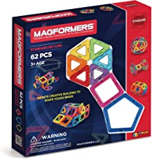 Magformers  Basic Set (62-pieces)  Magnetic Building Blocks, Educational Magnetic Tiles, Magnetic Building STEM Toy
