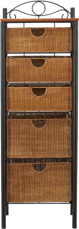 5 Drawer Storage Unit w/ Wicker Baskets - Versatile Tower - Wrought Iron Frame: Furniture & Decor