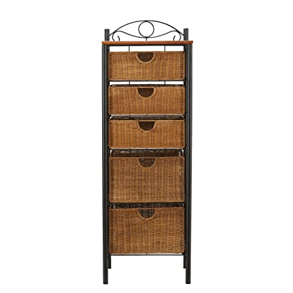 Merveilleux Southern Enterprises 5 Drawer Storage Unit With Wicker Baskets, Black And  Caramel Finish