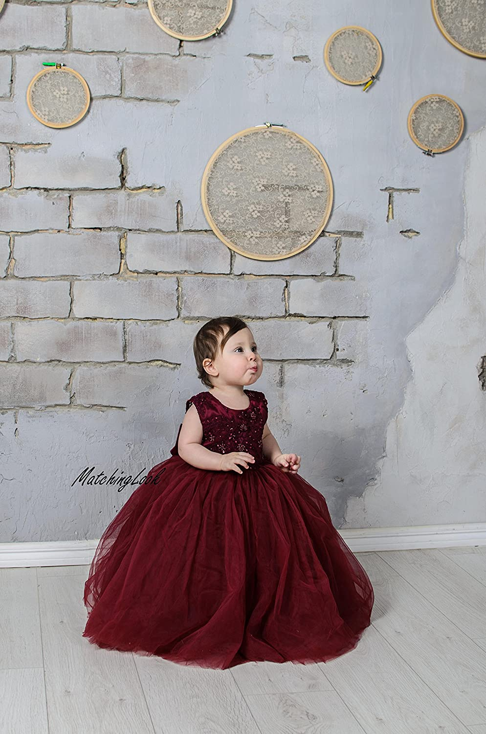 53a96e314 Amazon.com  Burgundy Flower Girl Dress