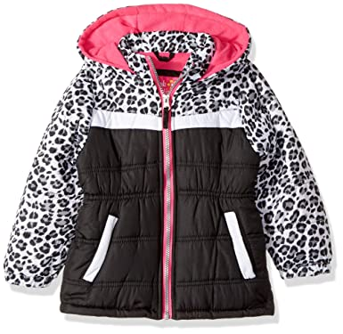 a025ab7ce02 Amazon.com: Pink Platinum Girls' Toddler Colorblock Animal Print Puffer,  Black, 2T: Clothing