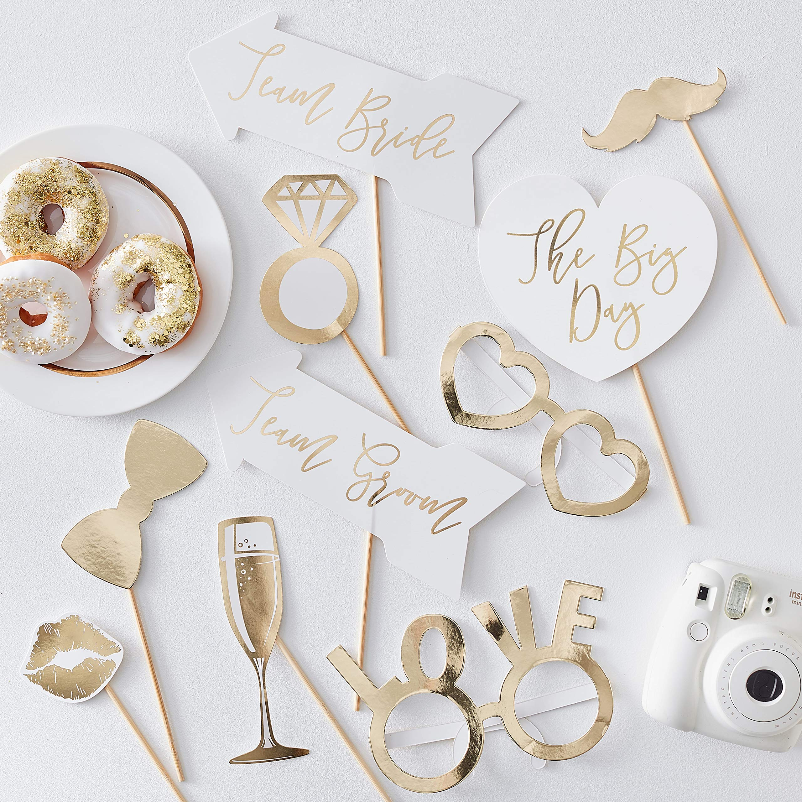 Ginger Ray Gold Foiled Wedding Photo Booth Props Fun Decoration 10 Pack