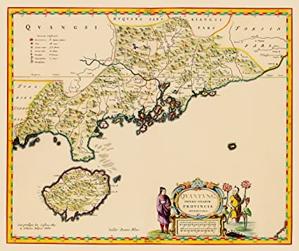 Amazon Com Old China Map Guangdong Province Kwantung And Hong