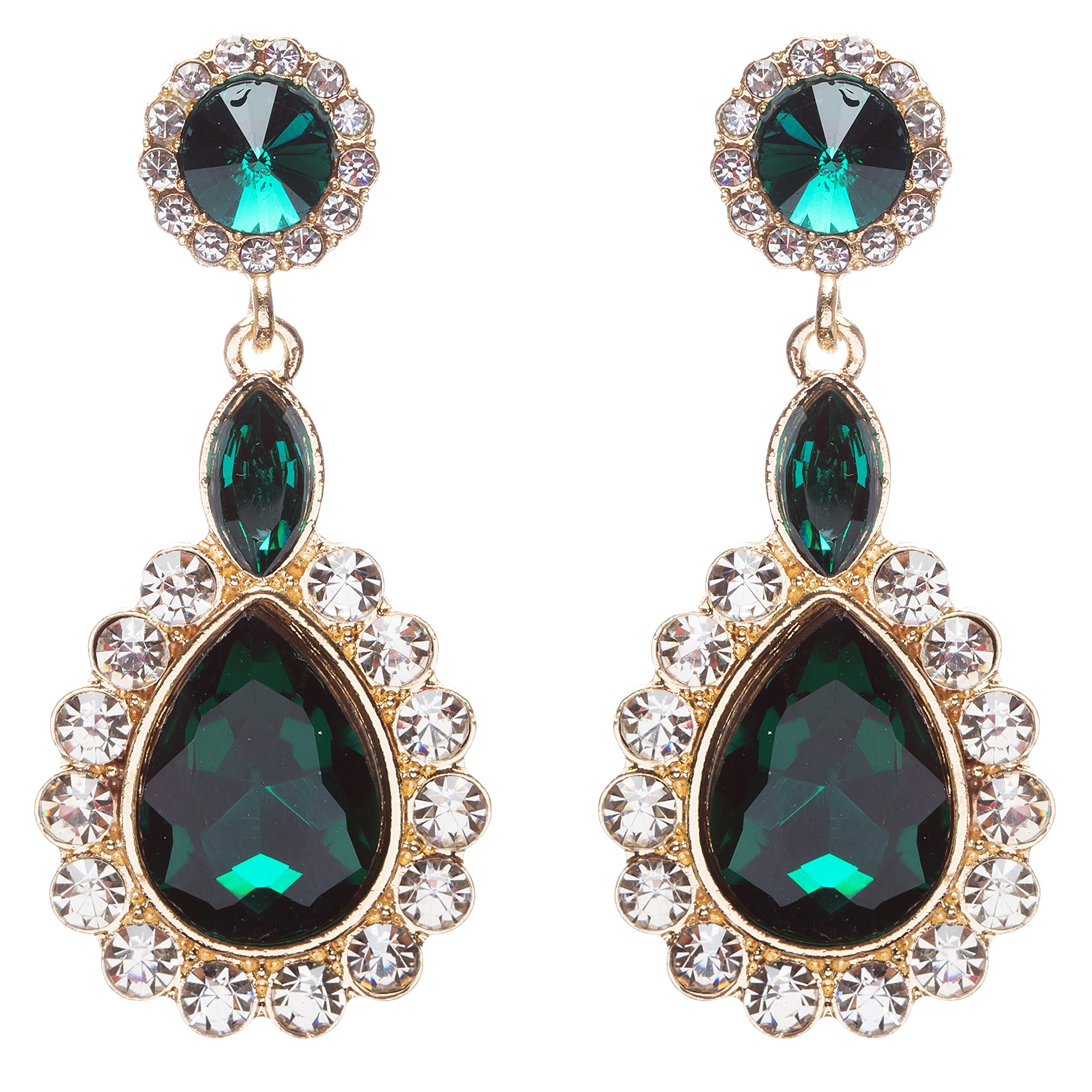 Beautiful Glamorous Bridal Crystal Rhinestone Teardrop Dangle Earrings Green