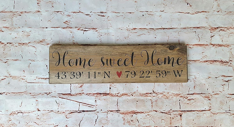 Home Sweet Home Sign, Coordinates Sign Wood, Latitude Longitude GPS Coordinates Sign